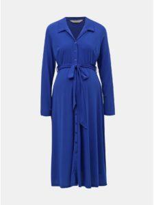 Modré tehotenské košeľové midišaty Dorothy Perkins Maternity