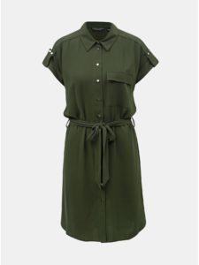 deb604e13c7f Tmavozelené košeľové šaty s vreckom Dorothy Perkins