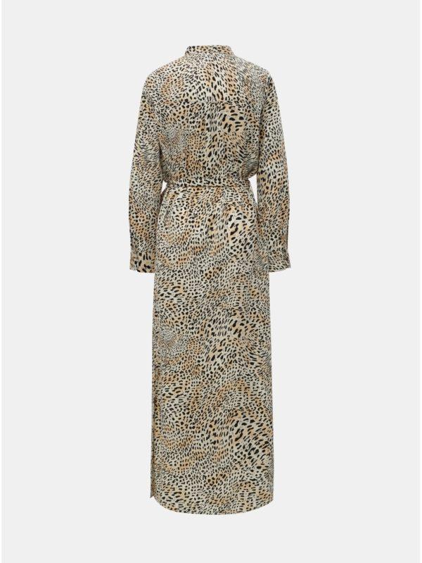 Čierno–béžové košeľové maxišaty s leopardím vzorom Dorothy Perkins