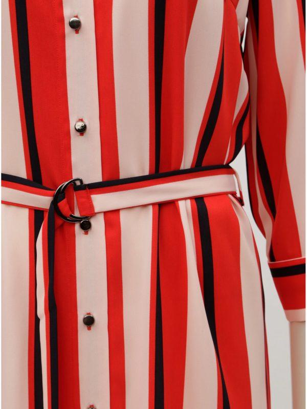 Červené pruhované košeľové šaty s opaskom Dorothy Perkins