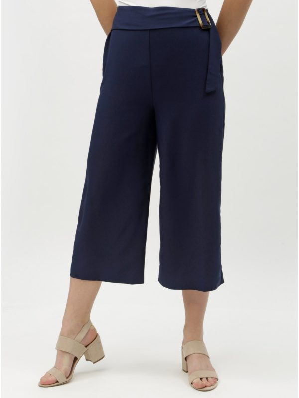 Tmavomodré culottes s vysokým pásom Dorothy Perkins