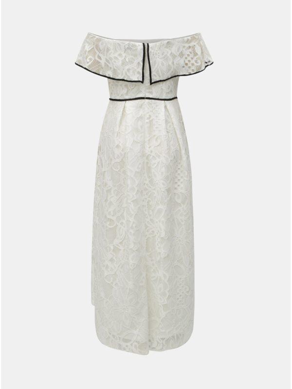 Biele čipkované midišaty s odhalenými ramenami Dorothy Perkins  4979a83db3c