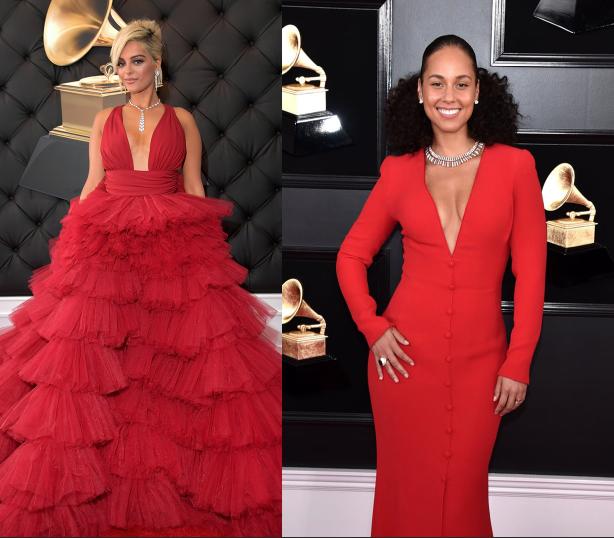 ukážka dvoch rozličných červených šiat na grammy 2019