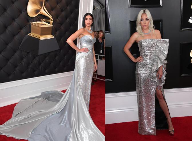 Dua Lipa a Lady Gaga v lesklých strieborných róbach na červenom koberci