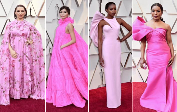 ukážka ružových rób na udeľovaní Oskarov 2019