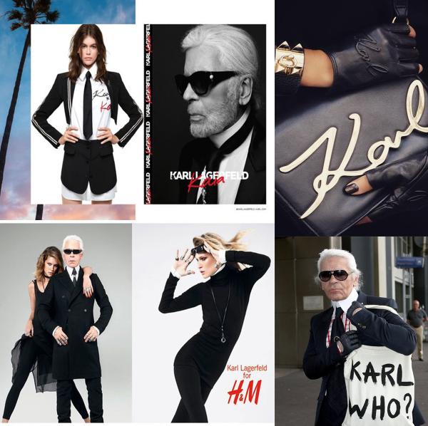názorná ilustrácia spoluprác značky Karl Lagerfeld