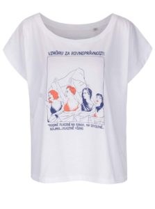 Biele dámske voľnejšie tričko s krátkym rukávom Bez Jablka Feminismus placení