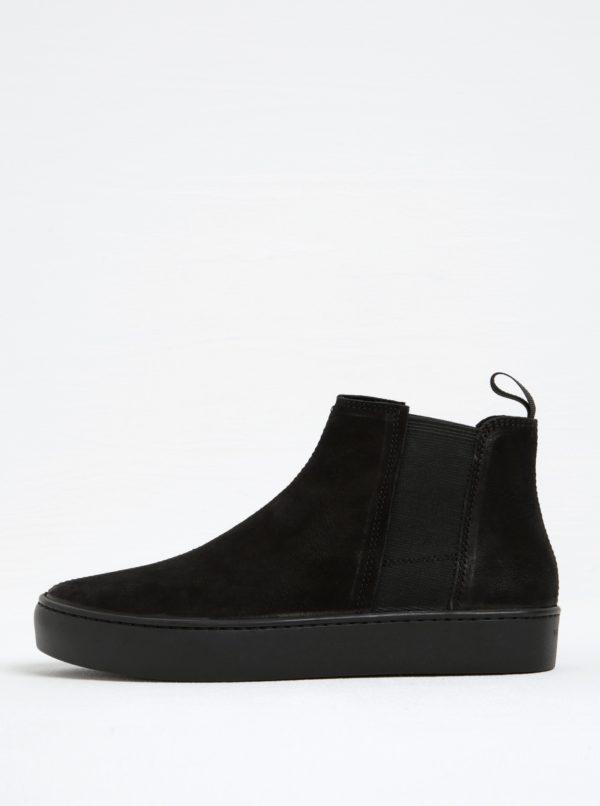 Čierne dámske kožené chelsea topánky na platforme Vagabond Zoe