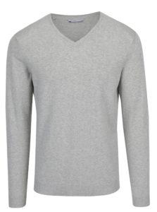Svetlosivý melírovaný sveter s prímesou hodvábu Selected Homme Tower