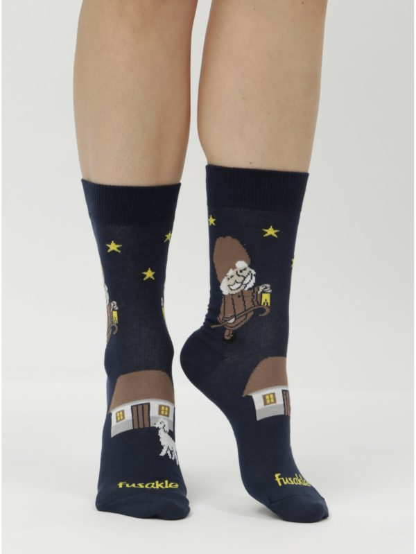 Tmavomodré unisex ponožky Fusakle Deduško večerníček