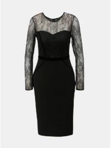 Čierne puzdrové šaty s čipkovanými detailmi Dorothy Perkins