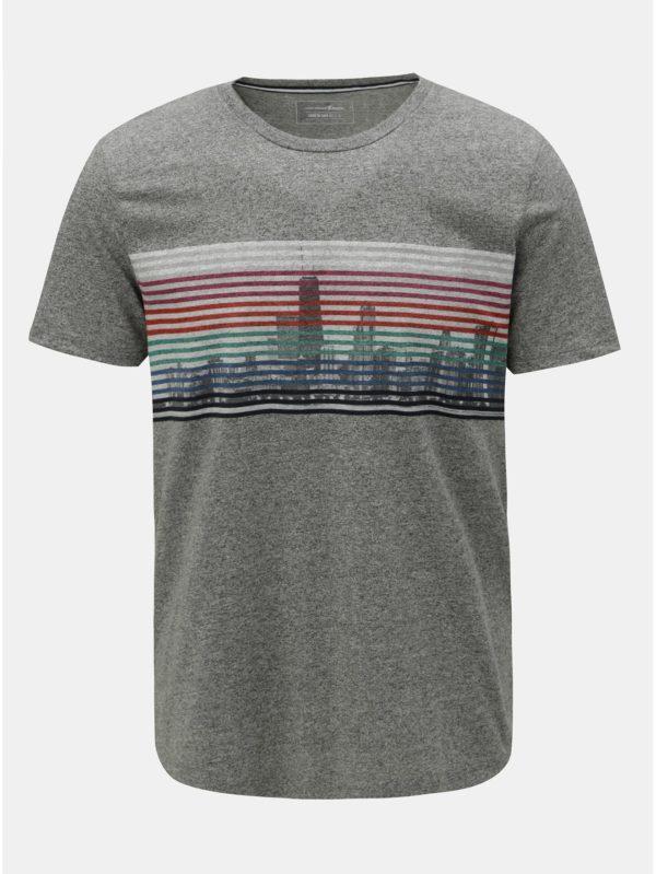 e809ad3cd977 Sivé pánske melírované tričko s potlačou Tom Tailor Denim