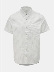 Biela bodkovaná košeľa s krátkym rukávom Burton Menswear London
