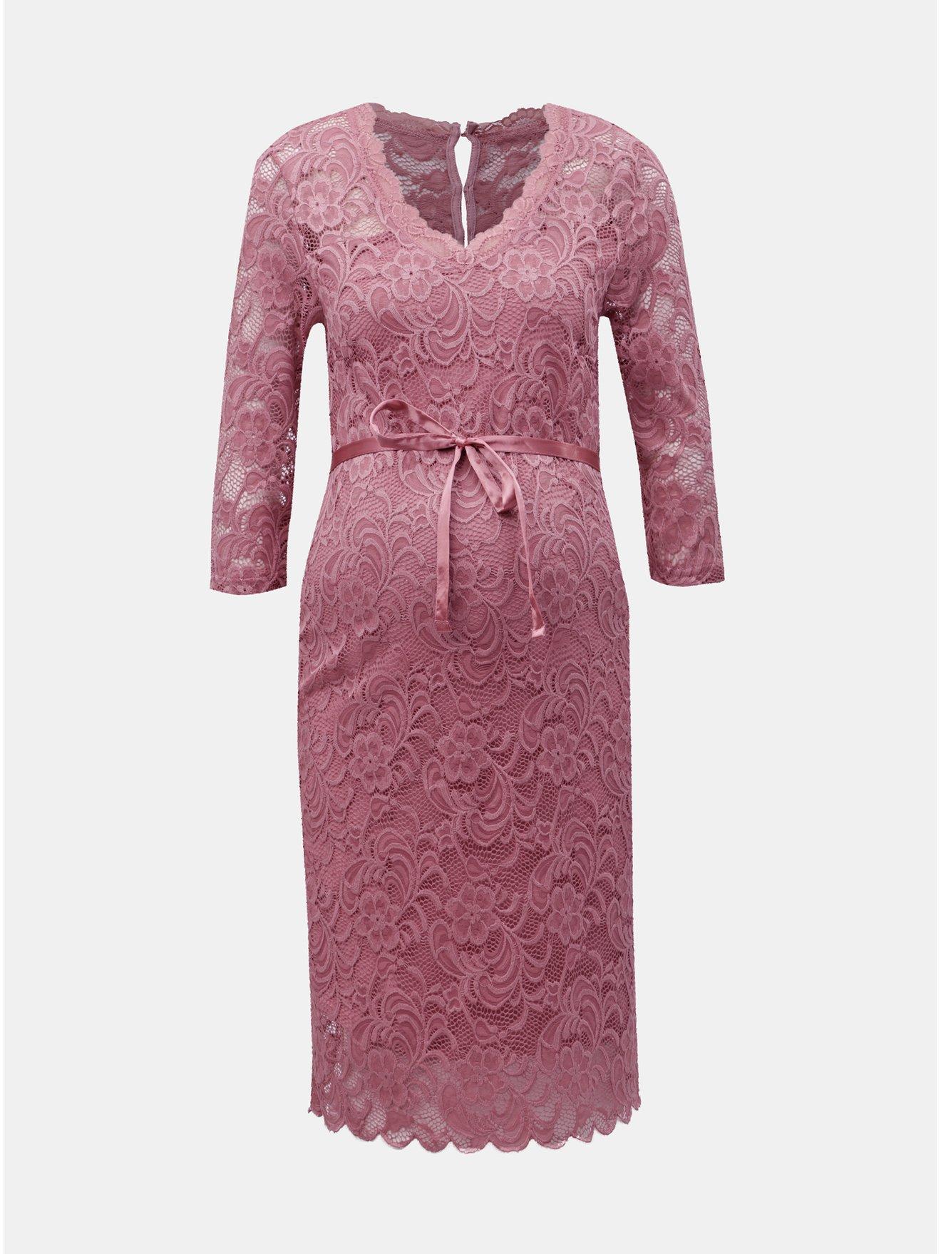 babe0ccd420b Ružové čipkované tehotenské šaty Mama.licious Mivana