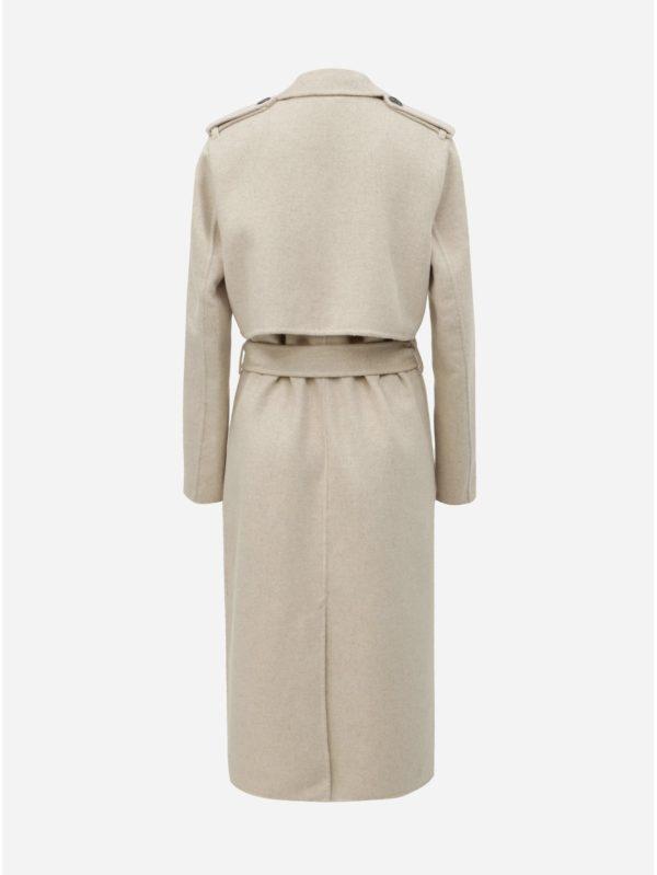 Béžový vlnený kabát Selected Femme Tana