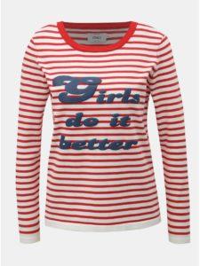 Bielo–červený tenký pruhovaný sveter s potlačou ONLY Birk