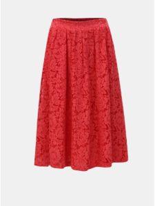 Červená čipkovaná sukňa ONLY Skylar