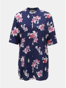 Tmavomodrá kvetovaná dlhá košeľa ONLY CARMACOMA Max
