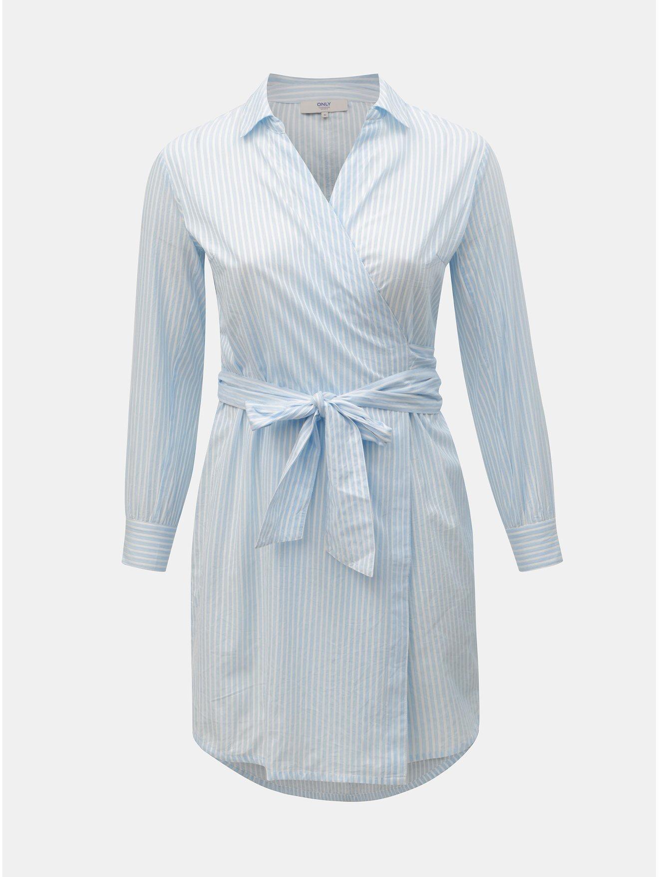 b77d657f9170 Bielo–modré košeľové zavinovacie šaty ONLY CARMACOMA Rosel