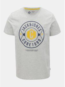 Svetlosivé melírované regular tričko s potlačou Jack & Jones Fresco