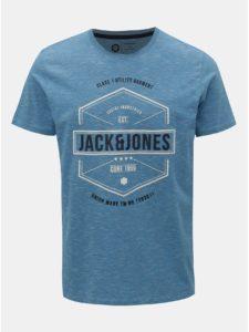 Modré melírované tričko s potlačou Jack & Jones Fresco