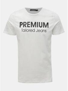 Biele slim fit tričko s potlačou Jack & Jones Logo