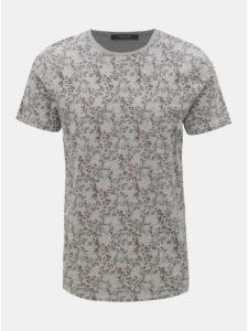 Sivé kvetované slim fit tričko Jack & Jones Canton