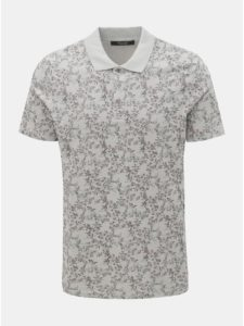 Sivá kvetovaná slim fit polokošeľa Jack & Jones Canton