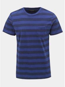 Modré pruhované slim fit tričko Jack & Jones Normann