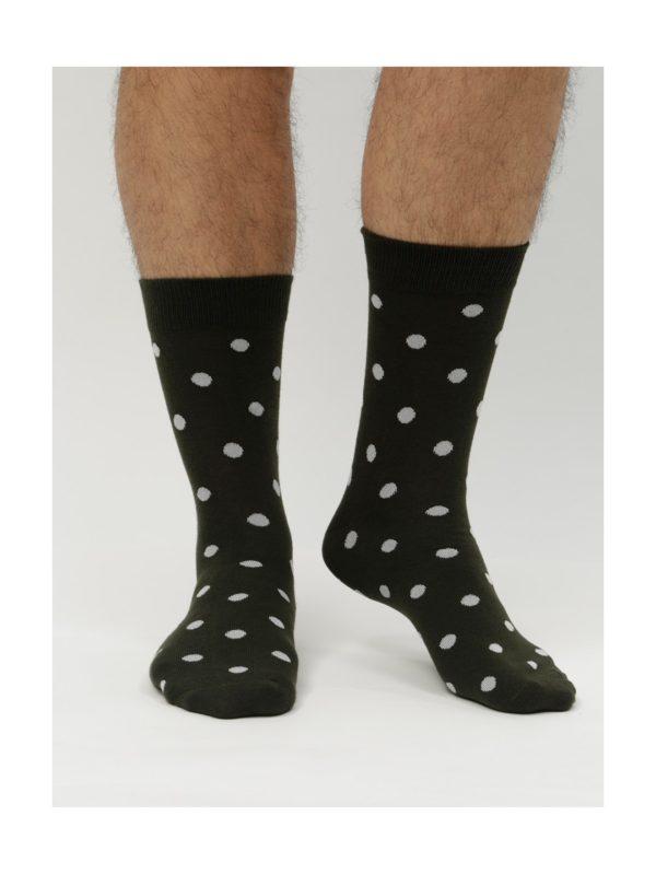 Balenie štyroch párov čiernych a sivých ponožiek Jack & Jones Dots
