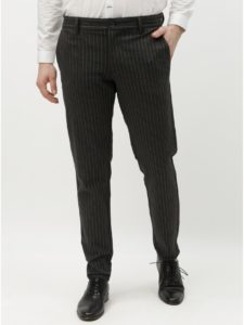 Tmavosivé pruhované nohavice ONLY & SONS Mark