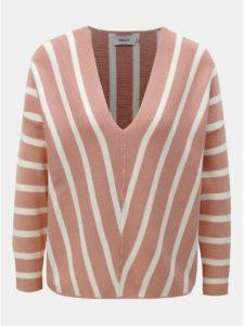 Bielo–ružový pruhovaný sveter ONLY Aya