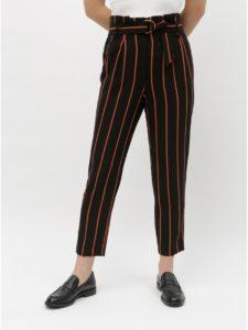 Tehlovo–čierne pruhované skrátené nohavice Miss Selfridge