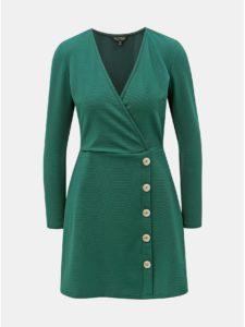 Tmavozelené rebrované šaty Miss Selfridge