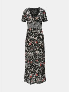 Čierne kvetované maxišaty s rozparkami Miss Selfridge