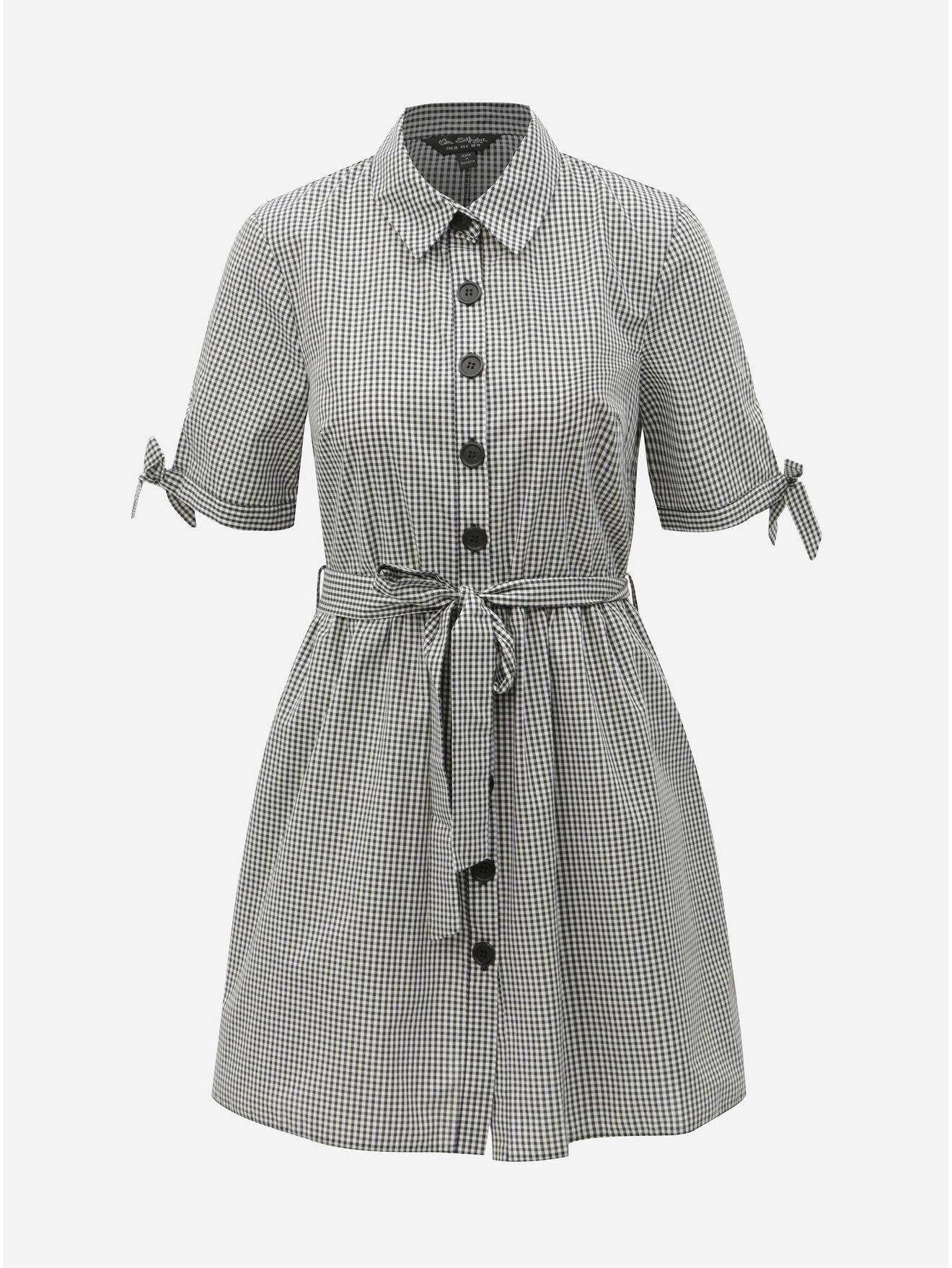0d221da3b5e0 Bielo–čierne kockované košeľové šaty Miss Selfridge