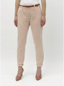 Ružové chino nohavice s opaskom VERO MODA Flash