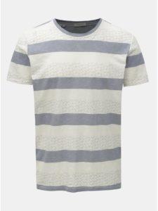 Modro–krémové vzorované tričko Selected Homme Kristian