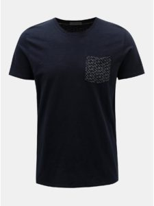 Tmavomodré tričko s náprsným vreckom Selected Homme Kristian