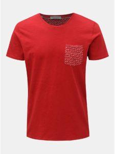 Červené tričko s náprsným vreckom Selected Homme Kristian