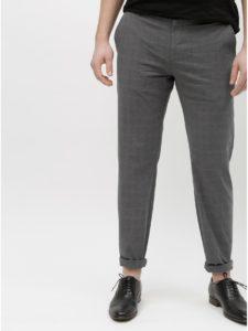 Sivé kockované chino nohavice Selected Homme Arval