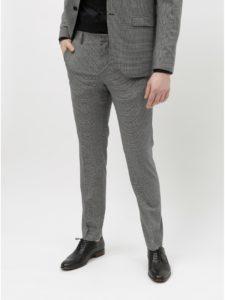 Sivé kockované oblekové nohavice s prímesou vlny Selected Homme Buffalnoah