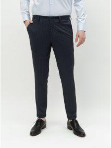 Tmavomodré pruhované skinny nohavice Selected Homme Jersey