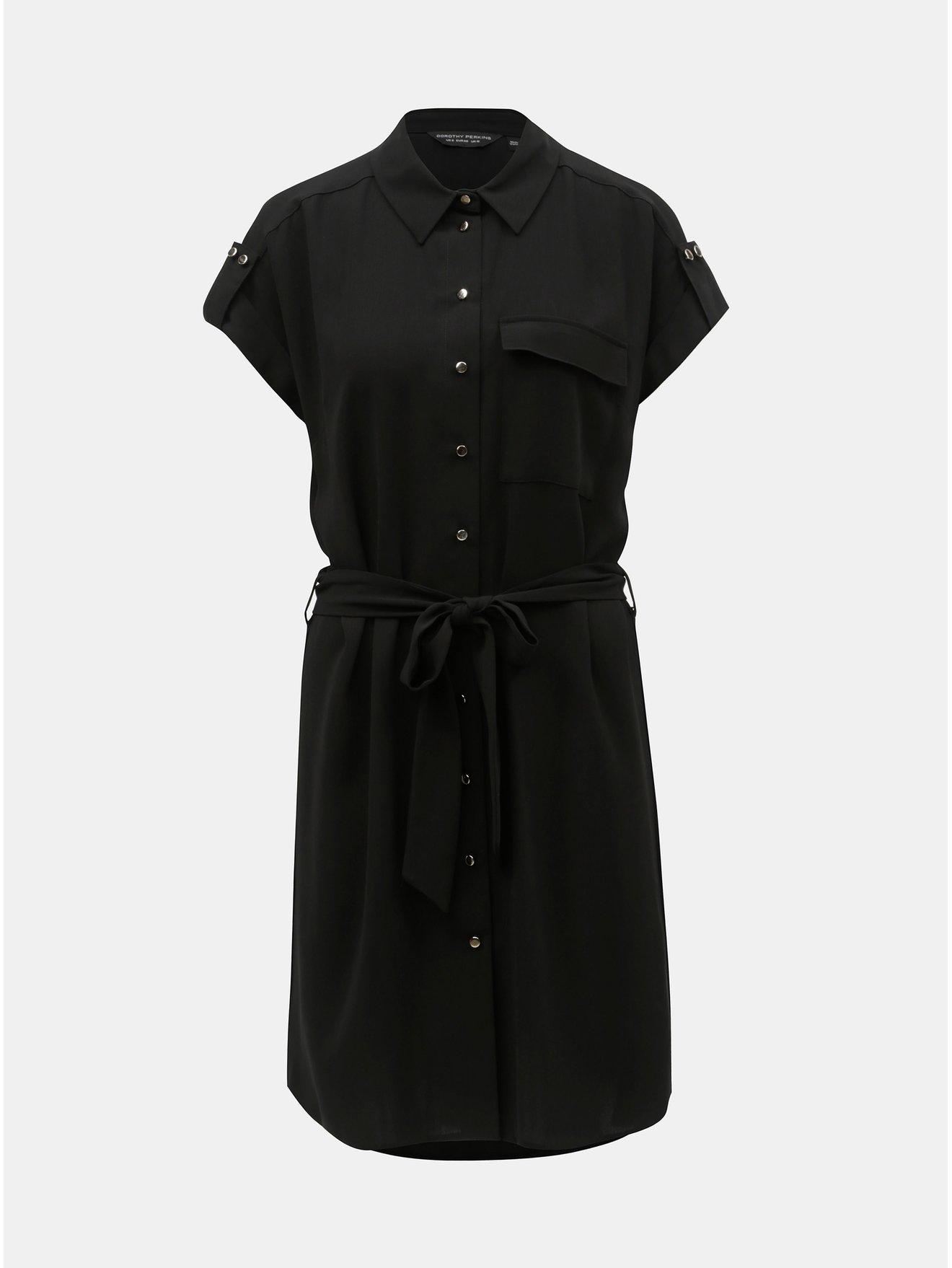 e2e7fdce689e Čierne košeľové šaty s opaskom Dorothy Perkins