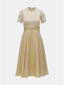 Béžové šaty s čipkovaným topom Little Mistress