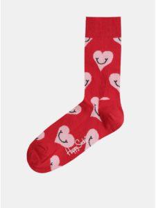 Červené dámske ponožky s motívom srdiečok Happy Socks Smiley Heart