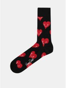Čierne ponožky s motívom srdiečok Happy Socks Smiley Heart