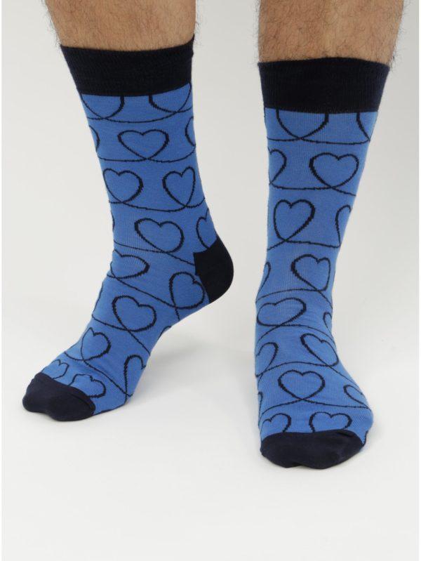 Modré ponožky s motívom srdiečok Happy Socks Loveline