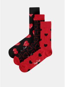 Balenie troch párov červeno–čiernych ponožiek Happy Socks I love you
