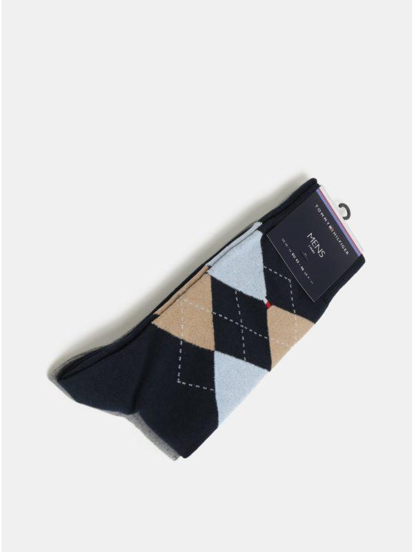 Balenie dvoch párov pánskych ponožiek v sivej a modrej farbe Tommy Hilfiger